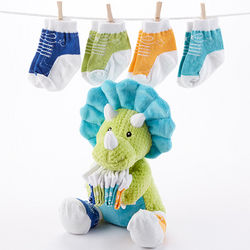 Tricerasocks Stuffed Animal with Socks Baby Gift Set