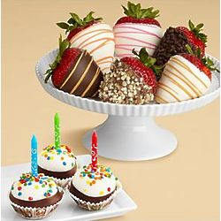 Birthday Cake Pops and Half Dozen Strawberry Gift Box