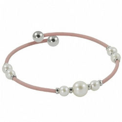 Off the Cuff Pink Rubber Pearl Bangle Bracelet