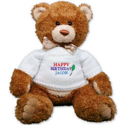 Small Embroidered Happy Birthday Teddy Bear