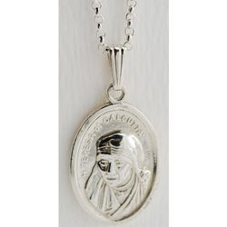 Sterling Silver Mother Teresa of Calcutta Medal with Chain
