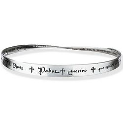 Spanish Lord's Prayer Mobius Strip Poesy Bangle Bracelet