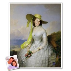 Lady with Yellow Hat Dress Custom Portrait Print from Photo