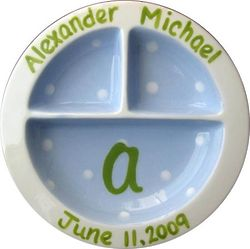 Baby's Personalized Blue and Green 3-Section Plate