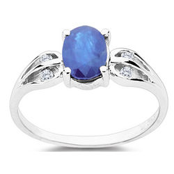 Diamond & Sapphire Ring in 10K White Gold