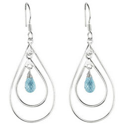 Aquamarine Earrings in Sterling Silver