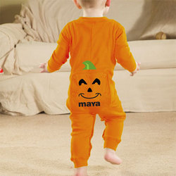Personalized Infant Halloween Pumpkin Long Johns