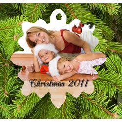 Photo Personalized Porcelain Snowflake Christmas Ornament