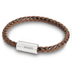 Two Tone Brown Leather Braided Bracelet