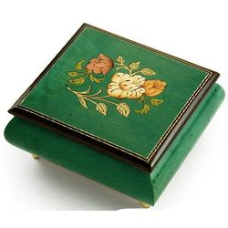 Handcrafted Forest Green Floral Wood Inlay Musical Box