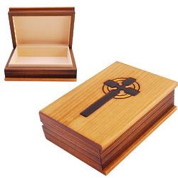Wooden Memory Box with Cross