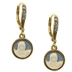Gold and Aqua Ivory Cameo Earrings
