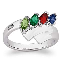 Sterling Silver Family Name Marquise Birthstone Ring