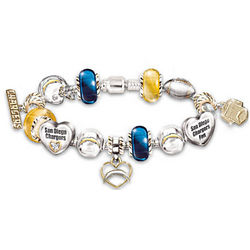 Go Chargers Number One Fan Charm Bracelet