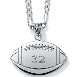 Sterling Silver Personalized Football Pendant
