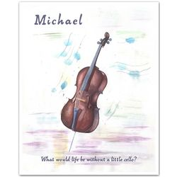 Cello Vibrato Watercolor Personalized Art Print