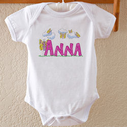 Personalized Baby Girl Butterfly Bodysuit