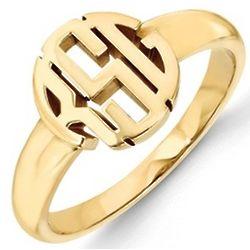14 Karat White or Yellow Gold Block Letter Signet Ring