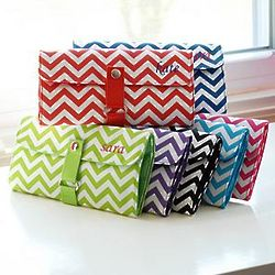 Personalized Chevron Makeup Roll Brush Set