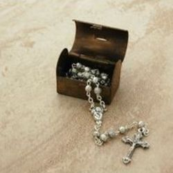 Sterling Silver Baby Rosary in Vintage Treasure Box