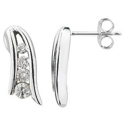 Diamond Journey Earrings in 14 Karat White Gold