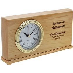 Life Begins at Retirement Personalized Desk Clock