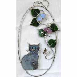 Stained Glass Kitten Oval