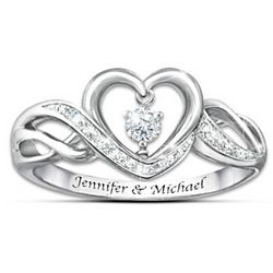 Dance of Love Personalized Women's Ring with Diamonesk Stone