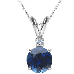 Diamond & Blue Sapphire Pendant in 18K White Gold