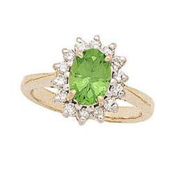 Morning Glory Gold Oval Peridot & Diamond Ring