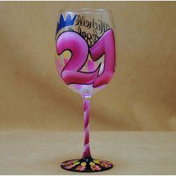 21st Birthday Handpainted Wine Glass