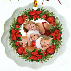 Porcelain Wreath Photo Personalized Christmas Ornament