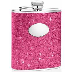 Engraveable Hot Pink Glitter Hip Flask