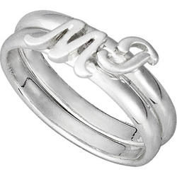 Stackable Letter Sterling Silver Ring