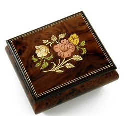 Handmade Floral Wood Inlay Musical Jewelry Box