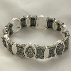Brazilian Catholic Silver Stretch Bracelet