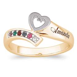 18K Gold Over Sterling Heart Birthstone and Family Name Ring