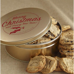 Gold Merry Christmas Gourmet Cookie Tin