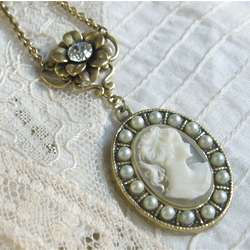 Lady Mary Antique Ivory Cameo Necklace