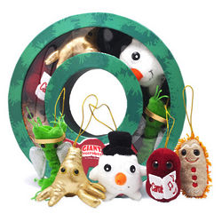 Wreath Box of Microbe Christmas Ornaments