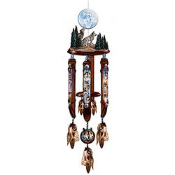 Windsong Native American-Style Hanging Sculpture with Wind Chime