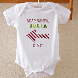 Dear Santa Personalized Baby Christmas Bodysuit