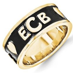 His and Hers Monogram Bands in 14 Karat Yellow or White Gold