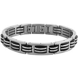 Gento Men's Stainless Steel and Black Rubber Bracelet