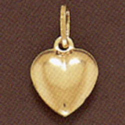 Large 14K Gold Puffy Heart Pendant
