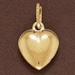 Large 14K Gold Puffy Heart Pendant
