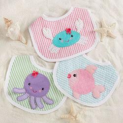 Beach Buddies 3-Piece Baby Girl Bib Gift Set