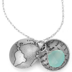Emerson Quote Globe Locket with Blue Chalcedony Gemstone