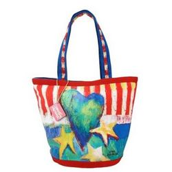 Hearts and Stars Large Beach Bag