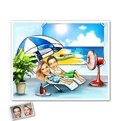 Feel Like a Vacation Custom Caricature Print for 2 from Photos